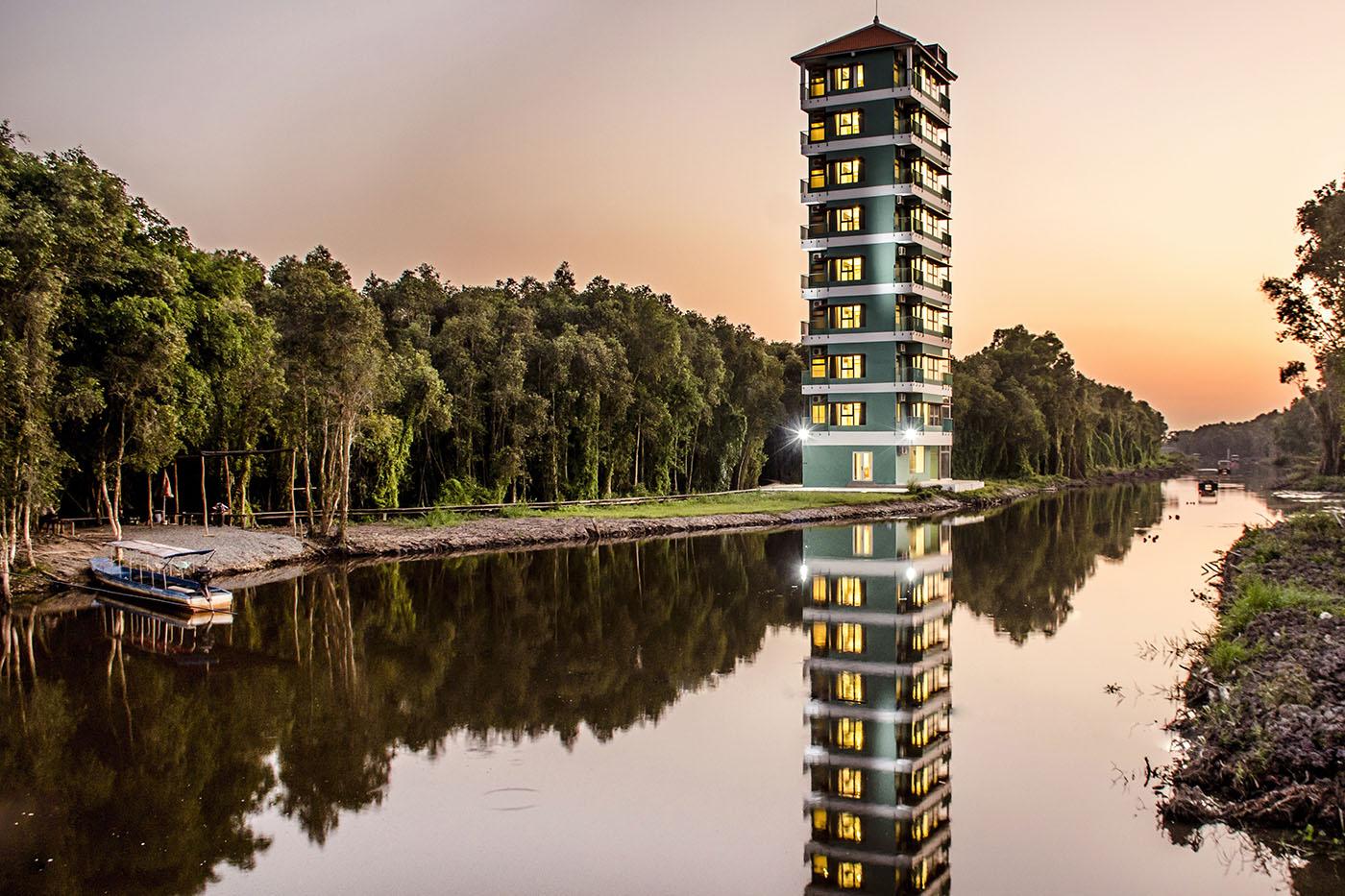 Phòng double - Cảnh sông & rừng tràm, Tháp KS